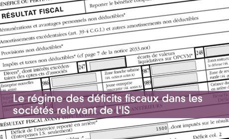 Le r�gime des d�ficits fiscaux dans les soci�t�s relevant de l'IS
