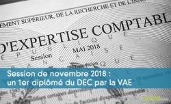 Session de novembre 2018 : un 1er diplômé du DEC par la VAE