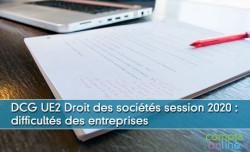 DCG UE2 Droit des sociétés session 2020 : difficultés des entreprises
