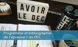 Programme et bibliographie de l'épreuve 1 du DEC