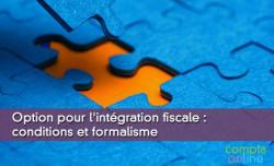Option pour l'intégration fiscale : conditions et formalisme