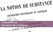 L'essentiel sur la notion de substance