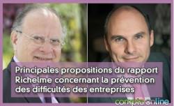 Principales propositions du rapport Richelme concernant la prévention des difficultés des entreprises