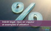 Intérêt légal : taux en vigueur et exemples d'utilisation