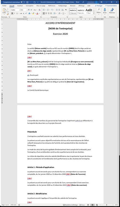 Modèle d'accord d'intéressement 2020 : prime MACRON (à télécharger)