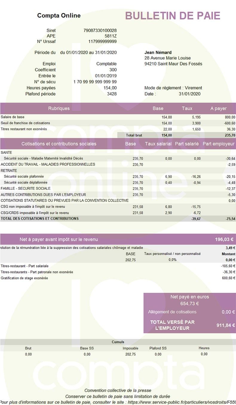 Bulletin de paie stagiaire