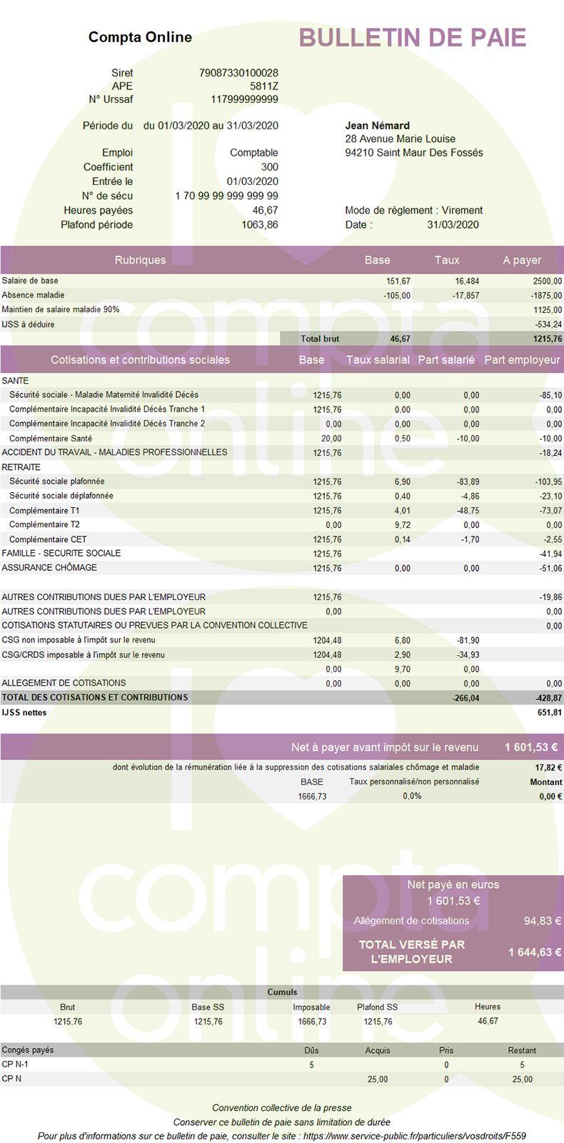 Exemple de fiche de paie avec absence maladie et maintien de salaire légal