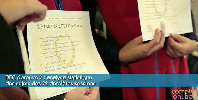 DEC : analyse statistique des sujets des 22 dernières sessions