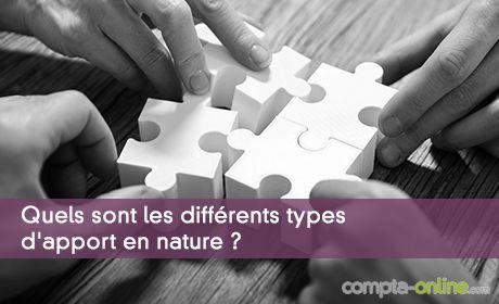 Quels sont les différents types d'apport en nature ?