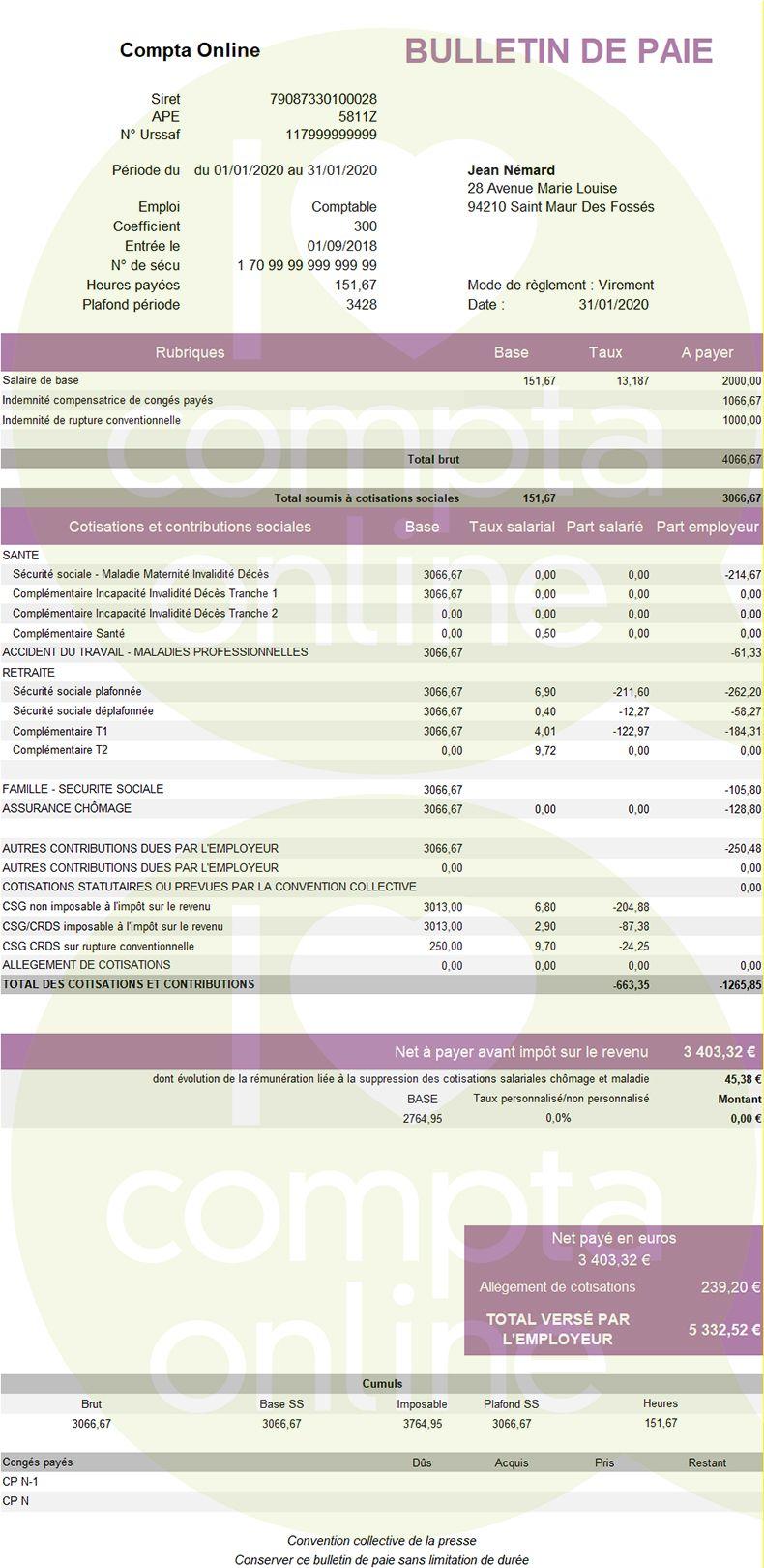 Fiche de paie avec rupture conventionnelle