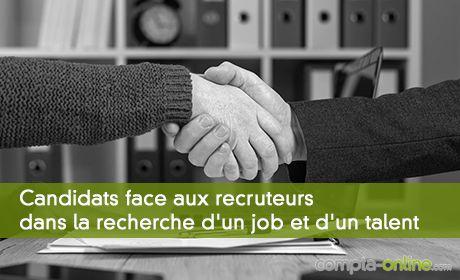 Candidats face aux recruteurs dans la recherche d'un job et d'un talent