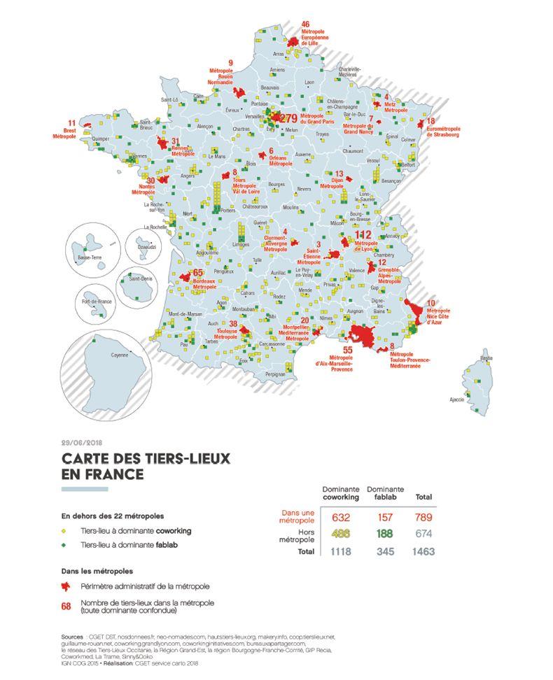 Carte tiers lieux France