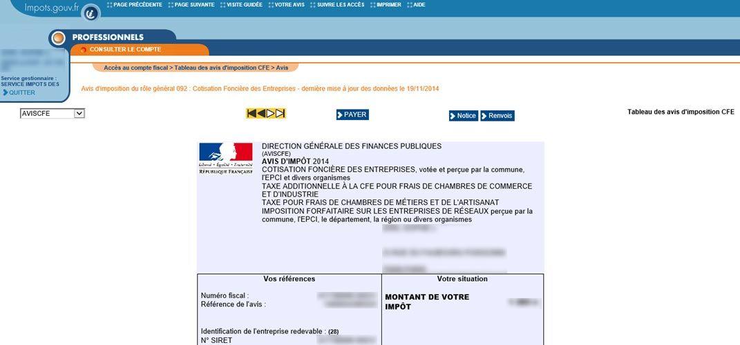 Comment Consulter LAvis DImposition Et Payer La Cfe
