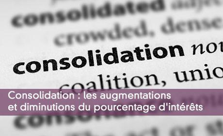 Consolidation : les augmentations et diminutions du pourcentage d'intérêts