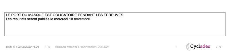 Date résultats DCG 2020