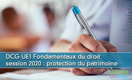 DCG UE1 Fondamentaux du droit session 2020 : protection du patrimoine