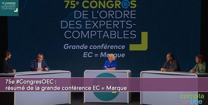 Résumé de la grande conférence EC = Marque du 75e Congrès