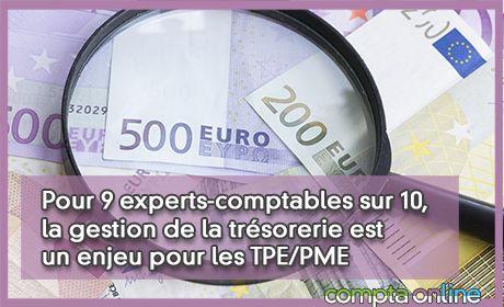 Pour 9 experts-comptables sur 10, la gestion de la trésorerie est un enjeu pour les TPE/PME