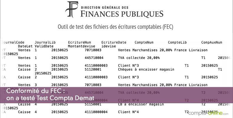 Conformité du FEC : on a testé Test Compta Demat