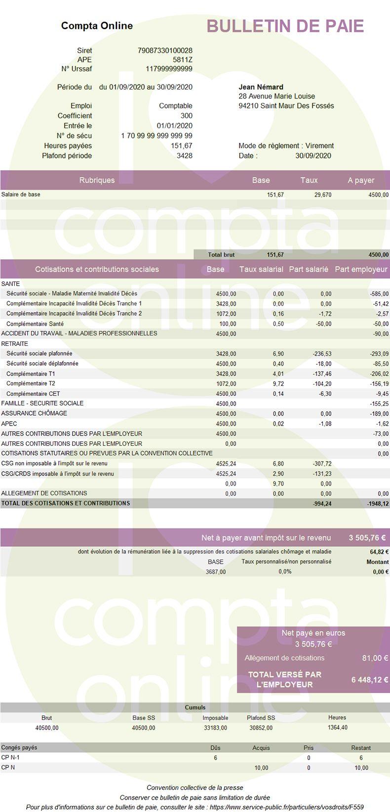 Exemple de bulletin de paie 2020 pour un salarié cadre