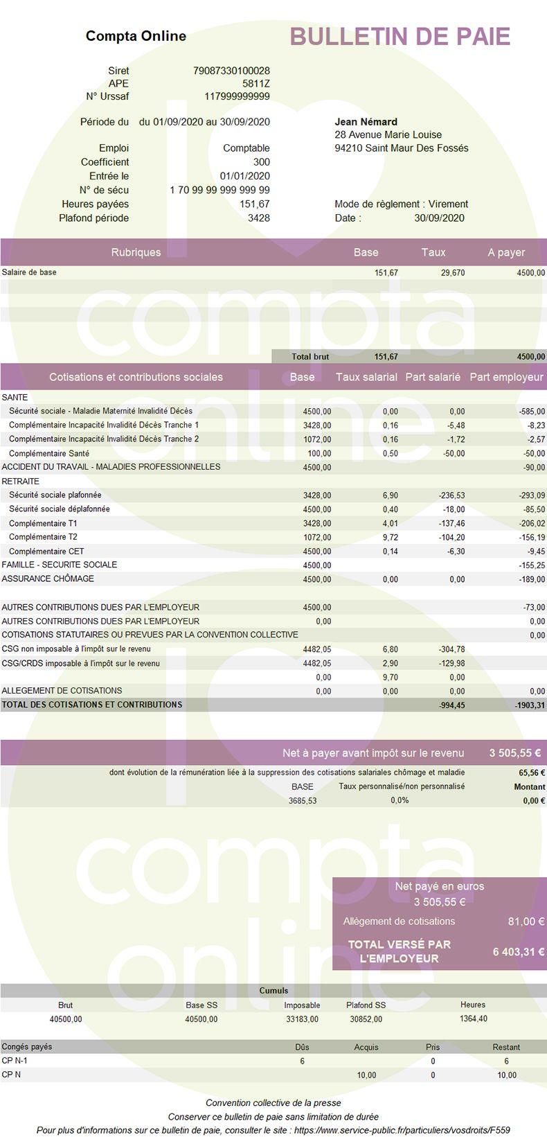 Exemple de bulletin de paie 2020 pour un non cadre