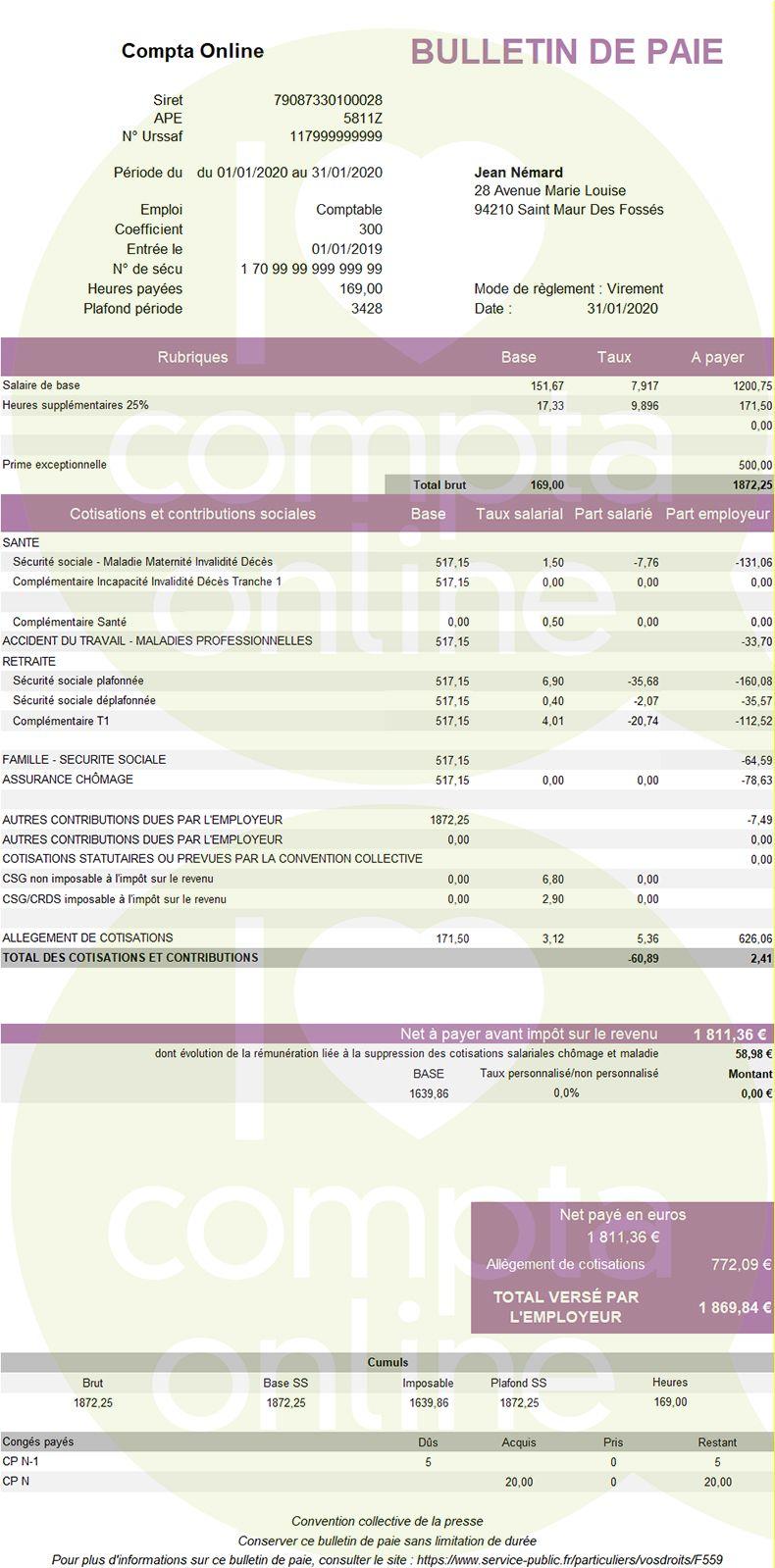 Fiche de paie 2020 d'un apprenti : salaire supérieur à 79% du SMIC