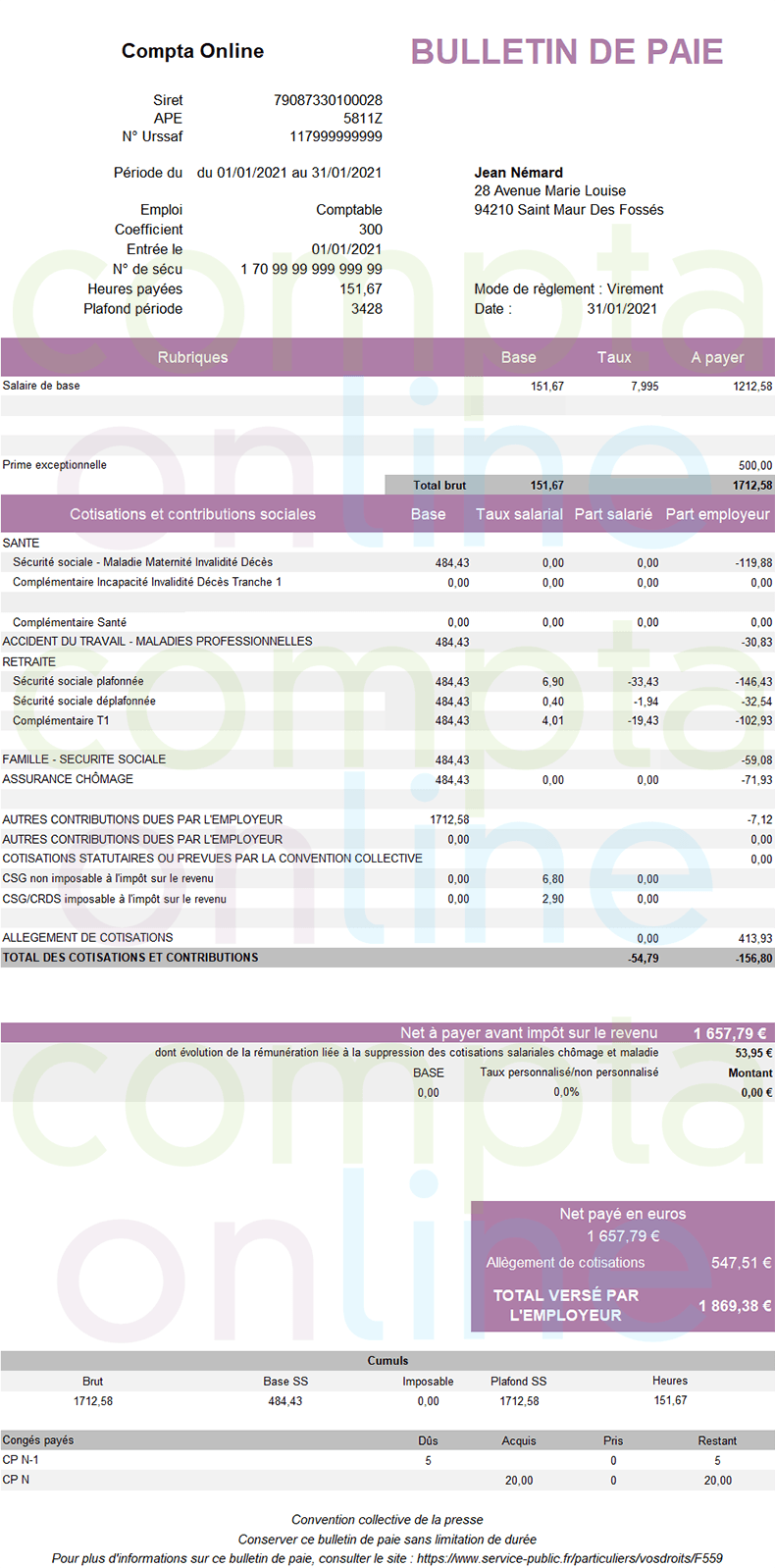 Exemple de fiche de paie 2021 apprenti : salaire supérieur à 79% du SMIC