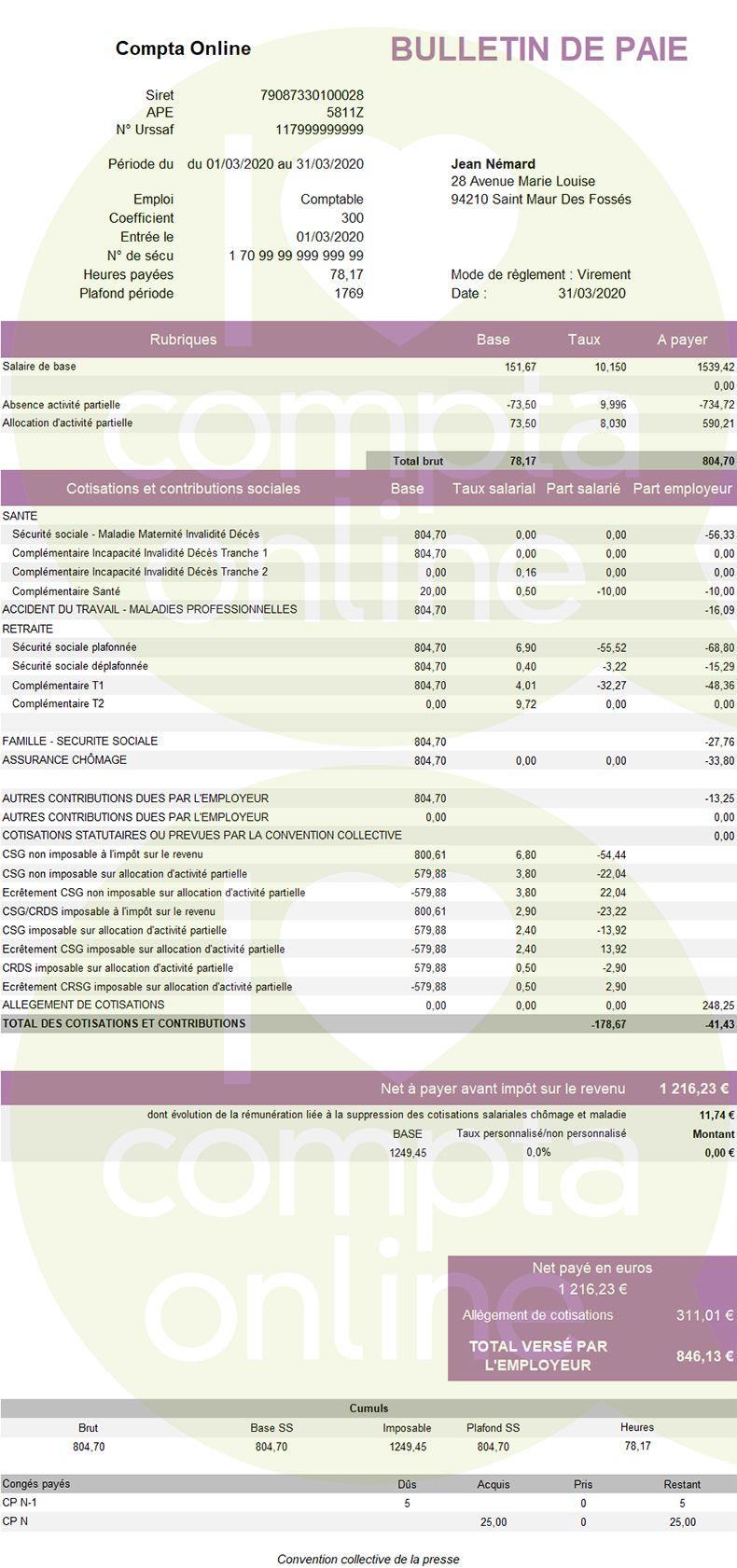 Fiche de paie au SMIC à 35h avec chômage partiel
