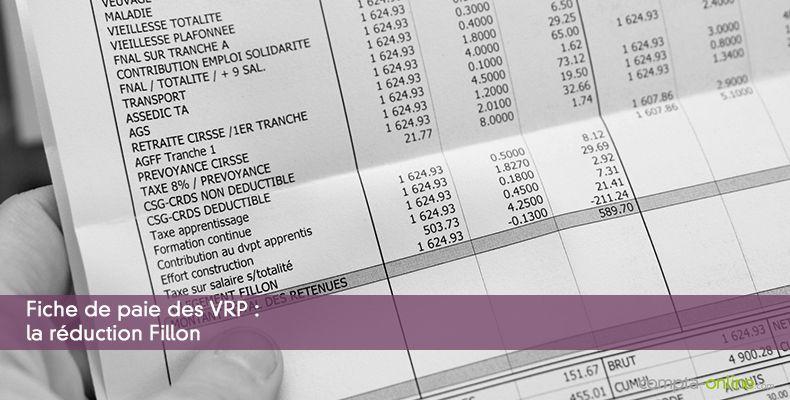 Fiche de paie des VRP : la réduction Fillon