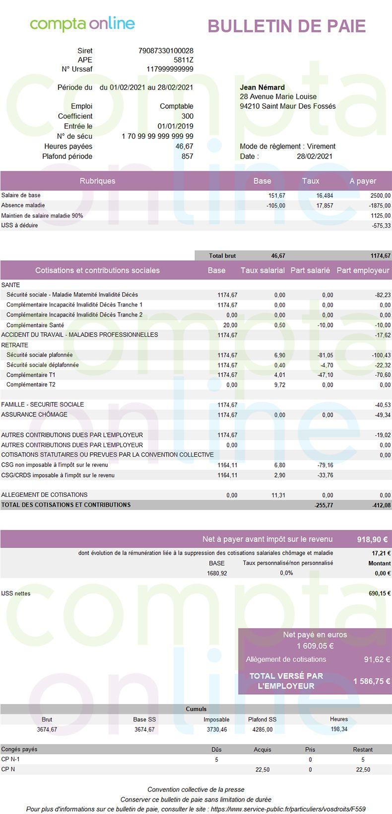 Fiche de paie 2021 avec absence maladie et maintien de salaire légal