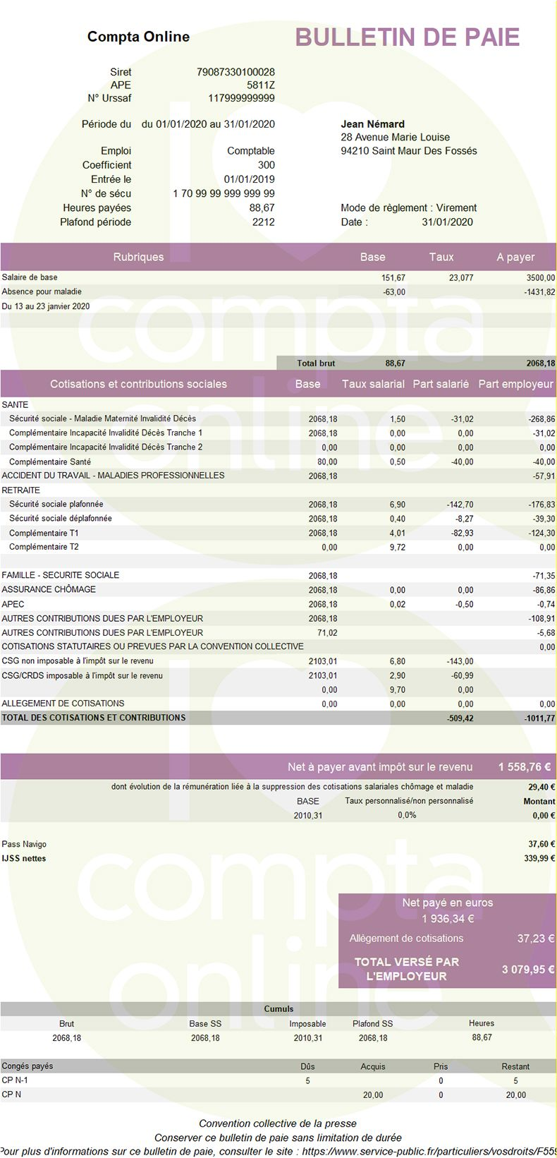 Fiche de salaire IJSS maladie