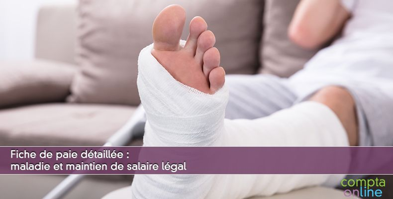 Fiche de paie détaillée : maladie et maintien de salaire légal