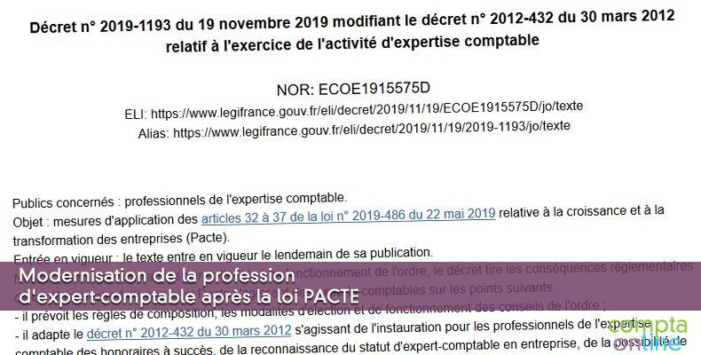 Modernisation de la profession d'expert-comptable après la loi PACTE