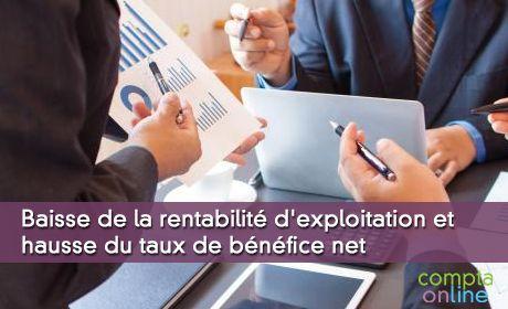 Baisse de la rentabilité d'exploitation et hausse du taux de bénéfice net