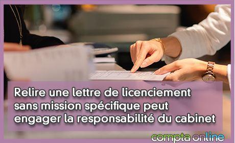 Relire une lettre de licenciement sans mission spécifique peut engager la responsabilité du cabinet