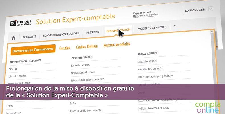 Prolongation de la mise à disposition gratuite de Solution Expert-Comptable
