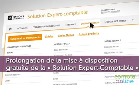 Prolongation de la mise à disposition gratuite de Solution Expert-Comptable