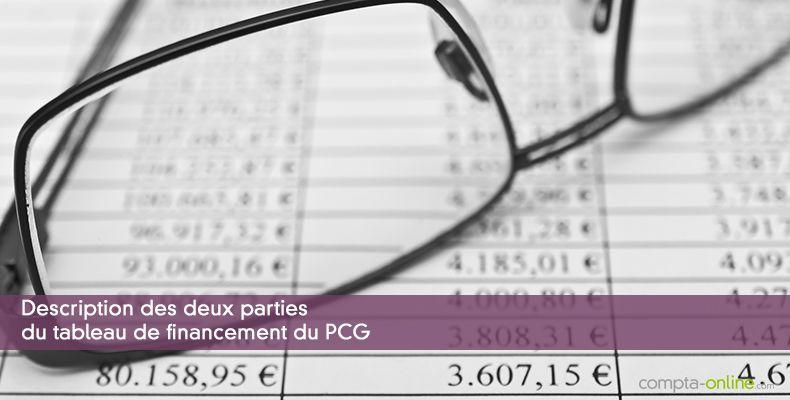 Description des deux parties du tableau de financement du PCG