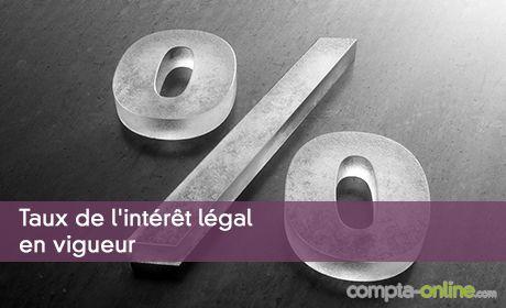 Taux de l'intérêt légal en vigueur
