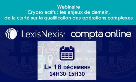 Inscrivez-vous aux deux webinaires Compta Online / LexisNexis sur la fiscalité des crypto-actifs !